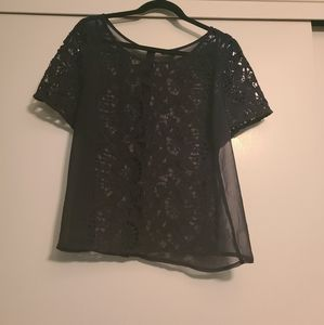 Black knit lace & sheer top